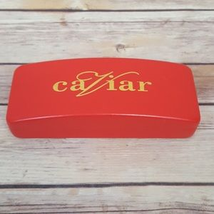 Caviar Red Leather Glasses Case Black Lining